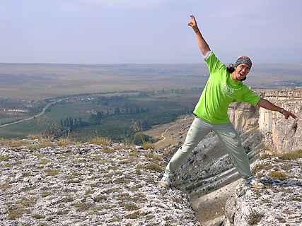 Саша на скале Ак-Кая